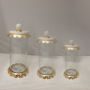 Set of 3 Marble and Glass Gold Canisters